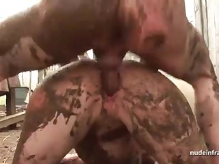 Half-starved inexperienced brown-haired rectal banged n spunked outdoor in a filthy french farm