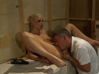 A sexy blonde about with short be thick is getting fucked hard